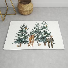 Christmas Winter Wonderland Fawn Rug