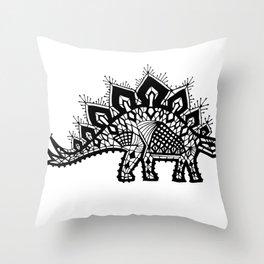 Stegosaurus Lace - Black Throw Pillow