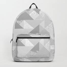 Modern abstract glacier gray white geometrical pattern Backpack