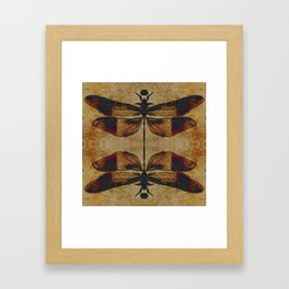 Dragonfly 2.0 Mirrored on Leather Framed Art Print