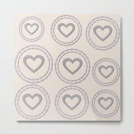 Cute Silver Cream Hearts Pattern Metal Print