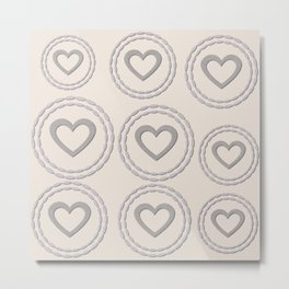 Cute Silver Cream Hearts Pattern Metal Print