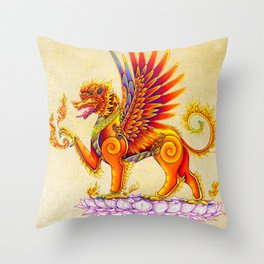 Singha Winged Lion Temple Guardian Throw Pillow