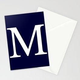 Navy Blue Basic Monogram M Stationery Cards