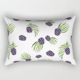 Hand painted black green watercolor fruity blackberries Rectangular Pillow