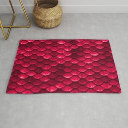 Ruby Red Mermaid Tail Scales Rug