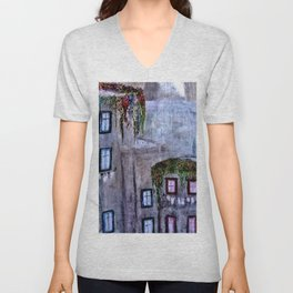 Houses in Milan in the evening Italy Unisex V-Neck