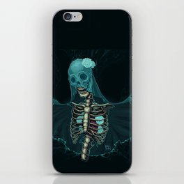 Skeleton with veil and white roses iPhone Skin
