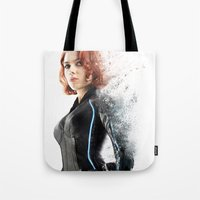black widow Tote Bags featuring Black Widow by NKlein Design