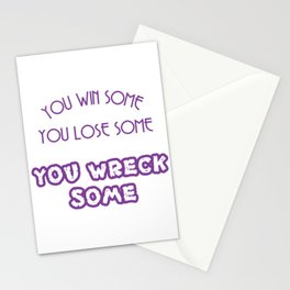 A simple and impactful Tee You Win Some You Lose Some You Wreck Some T-shirt Design Violet Stationery Cards