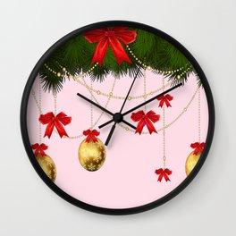RED RIBBONS GOLD ORNAMENTS HOLIDAY PINK DESIGN ART Wall Clock