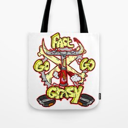 go fast go GRAZY ( vintage folding bicycle tribute - bull angry sketch handdrawn italian logo )  Tote Bag