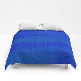 Subtle Cobalt Blue Waves Pattern Ombre Gradient Comforters