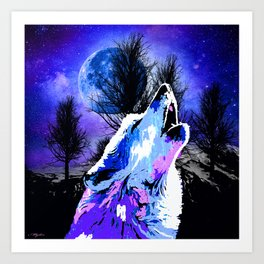 NEBULA WOLF MOON TREE MOUNTAIN SPARKLE Art Print