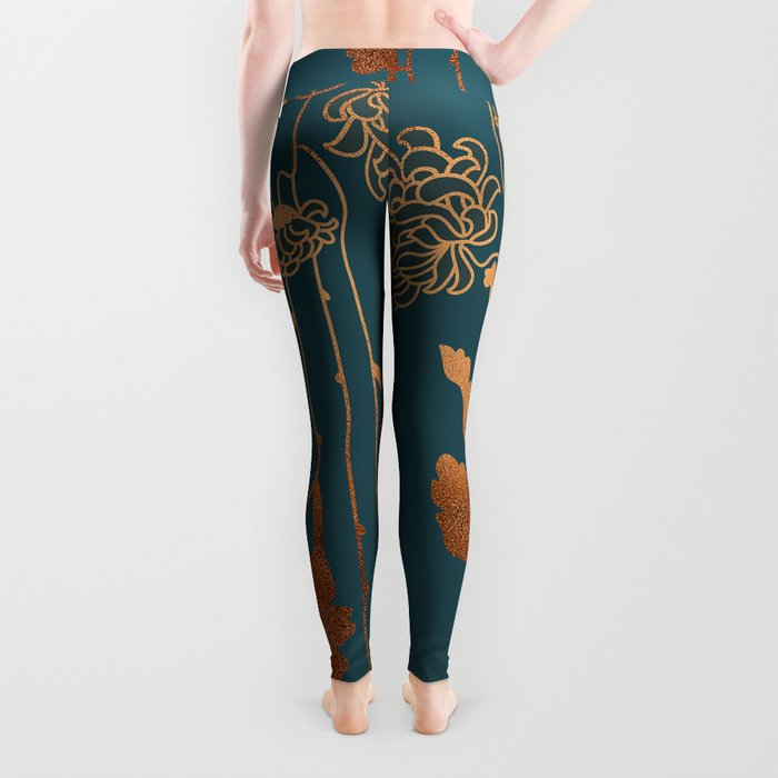 Art Deco Copper Flowers Leggings
