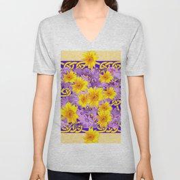 CREAM- PURPLE YELLOW FLOWERS CELTIC ART Unisex V-Neck