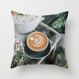 Latte + Plants II Throw Pillow