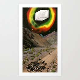 Space Cowboys 2 or Oh Fuck There Is A Giant Cube Coming Near Us Art Print