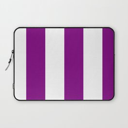 Wide Vertical Stripes - White and Purple Violet Laptop Sleeve