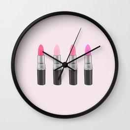 Favorite Pink Lipsticks, girly, lipstick, make up, cosmetics, illustration Wall Clock