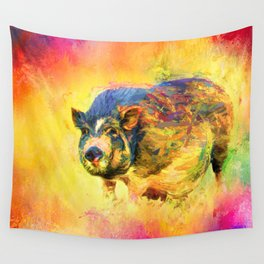 Jazzy Pig Colorful Animal Art by Jai Johnson Wall Tapestry
