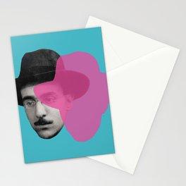 Fernando Pessoa Portrait - pink and blue Stationery Cards