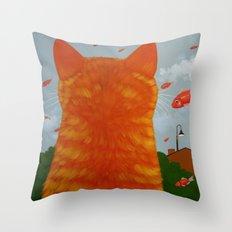 RAINING FISH Throw Pillow