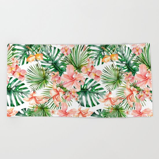 Tropical Jungle Hibiscus Flowers - Floral on #Society6 Beach Towel