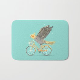 Cockatiel on a Bicycle Bath Mat