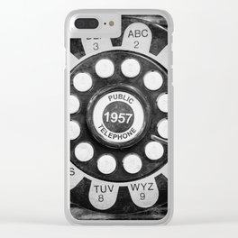 Retro 1957 Telephone in Black & White Clear iPhone Case