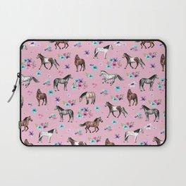 Horses & Flowers, Pink Pattern, Horse Illustration, Little Girls Room, Watercolor Laptop Sleeve