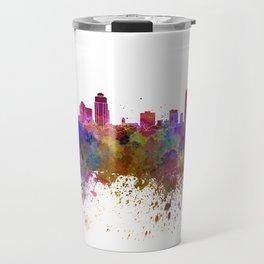 St Petersburg skyline in watercolor background Travel Mug