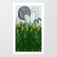 Here There Be Robots One Art Print