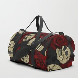 Red Roses & Skulls Grey Black Floral Gothic Duffle Bag
