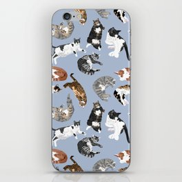 Lounging Cats in Blue iPhone Skin