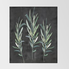 Eucalyptus Branches On Chalkboard Throw Blanket