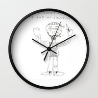 calvin and hobbes Wall Clocks featuring calvin by oldschoolking