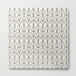 Triangles geometric grid pattern in black and white Metal Print