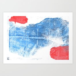 Blue red abstract Art Print