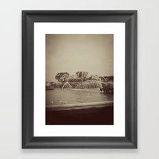 Chicago Buckingham Fountain Sepia Photo Framed Art Print