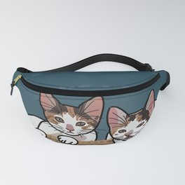 two calico kittens in the basket Fanny Pack