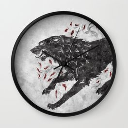 Grey wolf on the snow Wall Clock