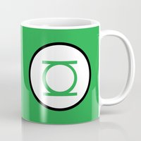 green lantern Mugs featuring Green Lantern Symbol by Crayle Vanest