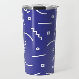 Post Modern Pattern in Blue Travel Mug
