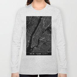 New York City Black Map Long Sleeve T-shirt