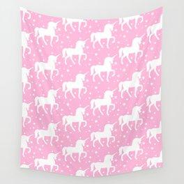 Pink Unicorn and Stars Pattern Wall Tapestry