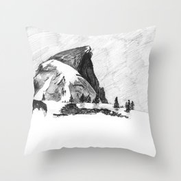 Drawing of Half-Dome in Yosemite from the north Throw Pillow