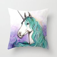 unicorn Throw Pillows featuring Unicorn by Pendientera