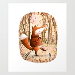 A Walk In The Woods - Fall Illustration Art Print