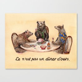 Three Bears Having Dinner Canvas Print